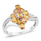 Orange Sapphire Platinum Over Sterling Silver Split Ring (Size 5.0) TGW 2.35 cts.