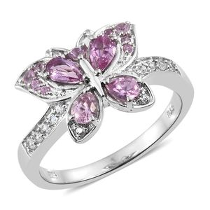 Madagascar Pink Sapphire, Cambodian Zircon Platinum Over Sterling Silver Butterfly Ring (Size 6.0) TGW 1.13 cts.