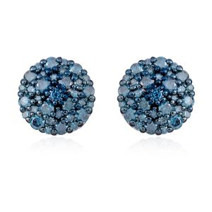 Blue Diamond (IR) Sterling Silver Stud Earrings TDiaWt 0.75 cts, TGW 0.75 cts.