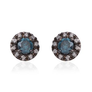 14K WG Blue Diamond (IR), Diamond Earrings TDiaWt 1.20 cts, TGW 1.20 cts.