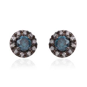 14K WG Blue Diamond (IR), Diamond Earrings TDiaWt 1.20 cts, TGW 1.20 cts.