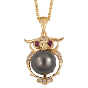Tahitian Pearl (10-11 mm), Multi Gemstone 14K YG Over Sterling Silver Owl Pendant With Chain (18 in) TGW 0.38 cts.