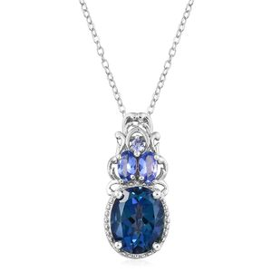 Mystic Neptune Topaz, Tanzanite Platinum Over Sterling Silver Pendant With Chain (20 in) TGW 4.82 cts.