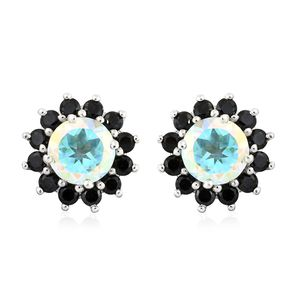 Mercury Mystic Topaz, Thai Black Spinel Platinum Over Sterling Silver Floral Halo Stud Earrings TGW 4.45 cts.