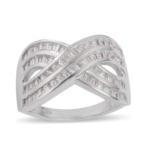 Simulated White Diamond Sterling Silver Crossover Ring (Size 8.0) TGW 2.70 cts.