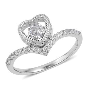 Simulated White Diamond Sterling Silver Inner Heart Ring (Size 7.0) TGW 0.70 cts.