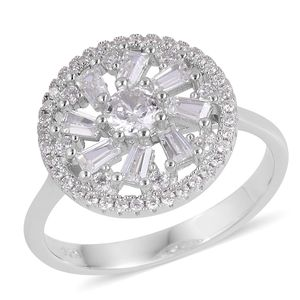 Simulated White Diamond Sterling Silver Ring (Size 7.0) TGW 1.40 cts.
