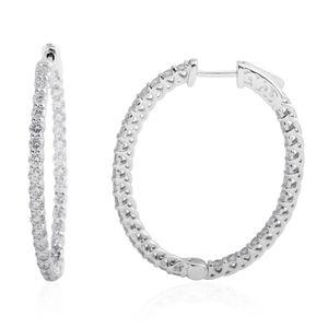14K WG Diamond (G SI2) Hoop Earrings TDiaWt 3.50 cts, TGW 3.50 cts.
