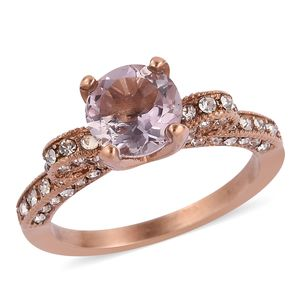 Rose De France Amethyst, White Austrian Crystal ION Plated RG Stainless Steel Ring (Size 7.0) TGW 1.56 cts.