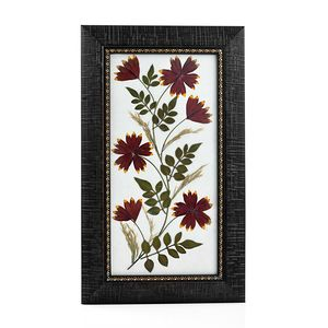 Handcrafted Multi Color Dry Aster Flower Petals and Leaf Wooden Picture (7x12 in)