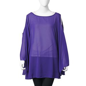 Purple 100% Polyester Scoop Neck Cold Shoulder Sheer Poncho (One Size)