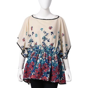 Ivory 100% Polyester Floral Pattern Scoop Neck Blouse with Elastic Waist Band (One Size)