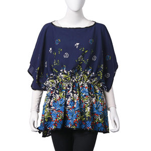 Navy 100% Polyester Floral Pattern Scoop Neck Blouse with Elastic Waist Band (One Size)