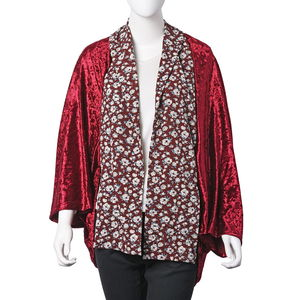 Wine Red with White Floral Pattern 100% Velour Kimono (63x37.41 in)