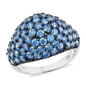 J Francis - Platinum Over Sterling Silver Ring Made with Arctic Blue SWAROVSKI ZIRCONIA (Size 7.0) TGW 9.10 cts.