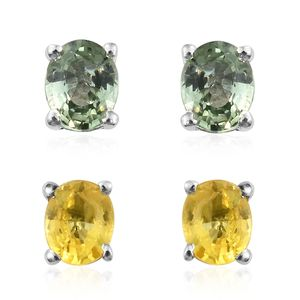 Set of 2 Green and Yellow Sapphire Platinum Over Sterling Silver Oval Stud Earrings TGW 1.75 cts.