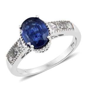 Dan's Collector Deal Masoala Sapphire, White Topaz Platinum Over Sterling Silver Ring (Size 7.0) TGW 5.00 cts.