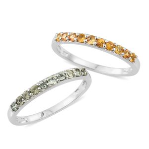 Set of 2 Green and Yellow Sapphire Platinum Over Sterling Silver Half Band Ring (Size 9) TGW 1.18 cts.