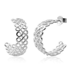 Sterling Silver Openwork Half Hoop Earrings (4g)