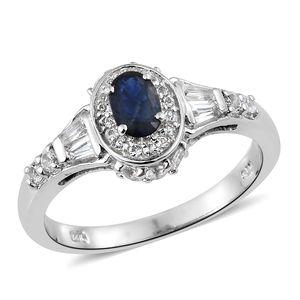 Kanchanaburi Blue Sapphire, White Topaz Platinum Over Sterling Silver Ring (Size 7.0) TGW 1.41 cts.