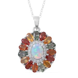 Ethiopian Welo Opal, Multi Sapphire, Cambodian White Zircon Sterling Silver Pendant With Chain (18 in) TGW 4.56 cts.