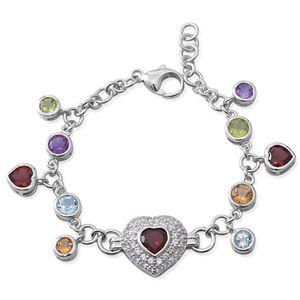 Multi Gemstone Sterling Silver Dangle Charm Bracelet (7.50 In) TGW 11.34 cts.