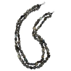 Malagasy Labradorite Chips, Thai Black Spinel Platinum Over Sterling Silver Double Strand Necklace (20 in) TGW 392.00 cts.