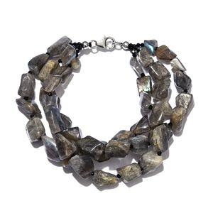 Malagasy Labradorite Chips, Thai Black Spinel Platinum Over Sterling Silver Triple Strand Bracelet (7.50 In) TGW 224.00 cts.
