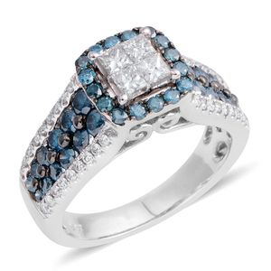 14K WG Diamond, Blue Diamond (H I2) (IR) Ring (Size 7.0) TDiaWt 1.25 cts, TGW 1.25 cts.