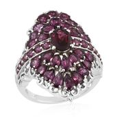 Orissa Rhodolite Garnet Platinum Over Sterling Silver Cluster Cocktail Ring (Size 10.0) TGW 7.41 cts.