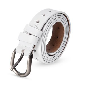White Second Grade Genuine leather Star Pattern Belt (40-42 in)