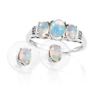 Ethiopian Welo Opal, Diamond Accent Platinum Over Sterling Silver Earrings and Ring (Size 8) TGW 2.03 cts.