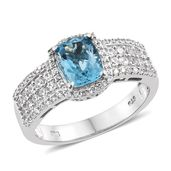 London Blue Topaz, Cambodian Zircon Platinum Over Sterling Silver Ring (Size 5.0) TGW 3.63 cts.