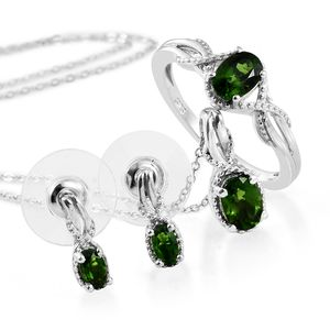 Russian Diopside Platinum Over Sterling Silver Earrings, Ring (Size 9) and Pendant With Chain (20 in) TGW 2.15 cts.