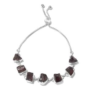 Artisan Crafted Rough Cut Mozambique Garnet Sterling Silver Magic Ball Station Bracelet (Adjustable) TGW 34.22 cts.
