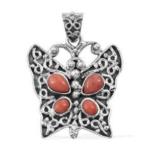 Oregon Peach Opal Sterling Silver Butterfly Pendant without Chain TGW 1.02 cts.