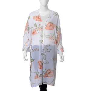 White 100% Polyester Leaf and Flower Pattern Ruffle Mid-Sleeve Long Length Summer Kimono (One Size)
