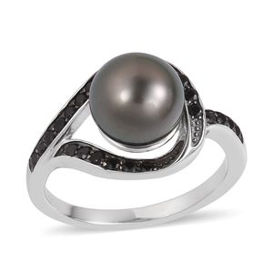 Tahitian Pearl (8-9 mm), Thai Black Spinel Black Rhodium & Sterling Silver Ring (Size 9.0) TGW 0.44 cts.