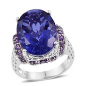 Playa Quartz, Amethyst Platinum Over Sterling Silver Cocktail Ring (Size 7.0) TGW 21.16 cts.