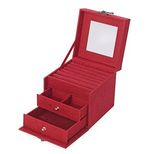 Rose Red Velvet Cube Shape Jewelry Box with Mirror, Swing Bag Clasp and Handle (4.9x4.9x4.9 in)
