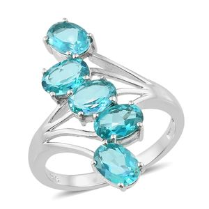 Paraiba Topaz Platinum Over Sterling Silver 5 Stone Bypass Ring (Size 7.0) TGW 4.50 cts.