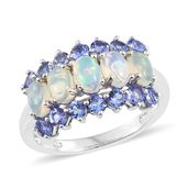 Ethiopian Welo Opal, Tanzanite Platinum Over Sterling Silver Ring (Size 7.0) TGW 2.65 cts.