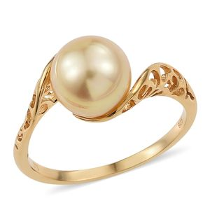 South Sea Pearl (9.5-10 mm) Vermeil YG Over Sterling Silver Openwork Fancy Bypass Ring (Size 8.0) TGW 7.75 cts.