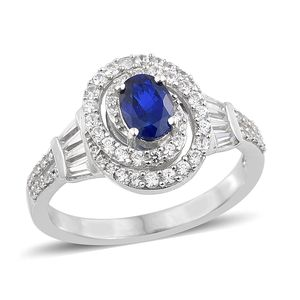Blue Spinel, Cambodian Zircon Platinum Over Sterling Silver Ring (Size 5.0) TGW 1.96 cts.