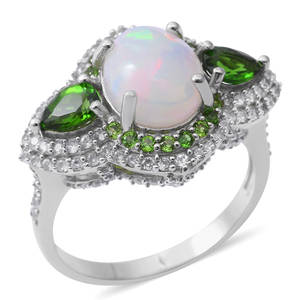 Ethiopian Welo Opal, Multi Gemstone Sterling Silver Ring (Size 9.0) TGW 6.84 cts.