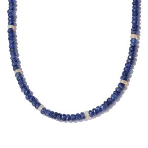 Masoala Sapphire, Ethiopian Welo Opal Platinum Over Sterling Silver Necklace (18 in) TGW 78.00 cts.