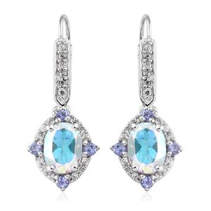 Mercury Mystic Topaz, Multi Gemstone Platinum Over Sterling Silver Lever Back Earrings TGW 3.43 cts.