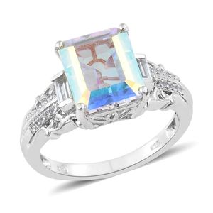 Mercury Mystic Topaz, White Topaz Platinum Over Sterling Silver Ring (Size 10.0) TGW 8.69 cts.