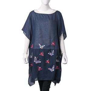 Navy 100% Polyester Butterfly Embroidered Scoop Neck Poncho (One Size)