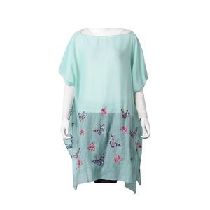 Mint 100% Polyester Butterfly Embroidered Scoop Neck Poncho (One Size)